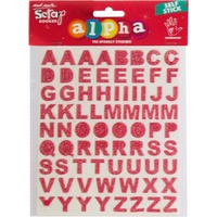 Mont Marte Scrapbooking Alpha - Glitter Stickers Strawberry 2 Sh 146pce For Scrapbook Craft