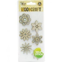 Mont Marte Scraping Woodcraft - Chipboard Flowers 6pce For Scrapbook Craft