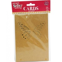 Mont Marte Scraping Cards - Kraft Butterfly Cards 10pce