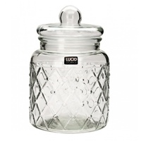 25cm Glass Storage Jar Drum Shape with Suction Lid, Holds 3800ml Kitchen Decor