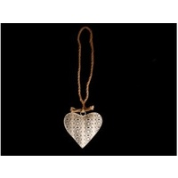 16cm Moroccan Style Hanging Heart Decor / White Metal Heart / Light Weight