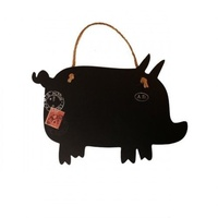 30cm PIGLET PIG Blackboard, hanging by rope, with french themed stamp & detail