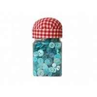 150g of BLUE Mixed Sized Craft / sewing Buttons in tub  with pin cushion lid