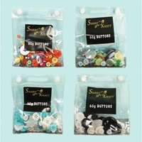 4 x 60g Packs of Assorted Colours / SizesButtons in seperate pvc bags
