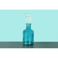3pce 13cm Glass Blue Bottle with Sea Shell Stopper, Water, Wine Decanter OD1073
