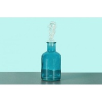 3pce 13cm Glass Blue Bottle with Sea Horse Stopper, Water, Wine Decanter OD1074