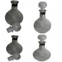4pce Round Vintage Style Round Pressed Glass Liquar Bottle Clear - 545mls 8x20cm