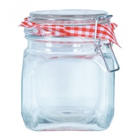 1pce Square Glass with Airtight Seal top Jam Jar with Red and White Cloth Motife 11x15cm