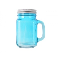 4pce  Blue square mason jar with handle (no hole in lid) great for storage / jams 8x13cm