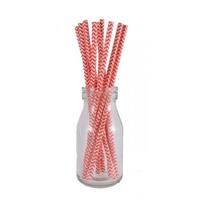 20pk Paper Straws Classic Chevron Design Red and White for Cup Cakes, etc