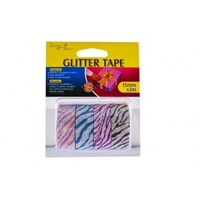 12 Rolls of Glitter Tape, Leopard Print, Polla Dot and Cheveron Designs 15mmx3m