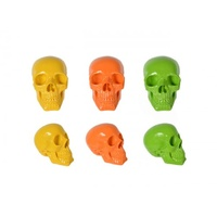 Set Of Three Poly Fluro Skulls Yellow, Orange and Green Gloss Finish 11X16X13Cm