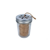 7X10Cm 1Pce Taper Mason Style Jar Twine Dispenser,  Screw Lid Flower Design With Dute Twine