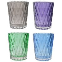 1pce 9cm Cup Candle Holder, Diamond Pressed Glass, Beautiful Colours