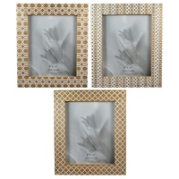 1pce 32cm Photo Frame with Geometric Print, Wooden with White, Fits 8x10""