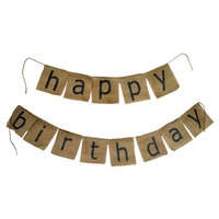 1pce Linen Happy Birthday Garland Bunting Style Flags Haning 195x15cm