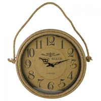 46cm Watch Maker Wall Clock with Rope Trim, Vintage Rustic Look, London Style