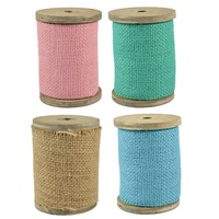 2.8m Jute Ribbon on Wood Bobbin, 10cm Width, Scrapbooking and Craft