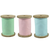 2.8m Canvas Ribbon on Wood Bobbin, 10cm Width, Scrapbooking and Craft