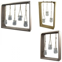 1pce Large Framed Mini Plant Terrarium Jars Hanging in Stand, Home Décor
