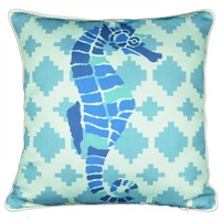 45cm Blue Toned Beach House Cushion with Seahorse Feature & Piping Edge