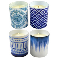1pce 9cm Premium Candle with Blue Stained Design 180g