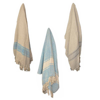 1pce 170cm Cotton Throw Rug with Hamptons Colour Stripe