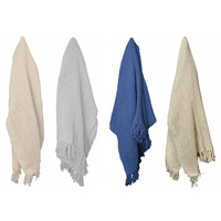 1pce 170cm Cotton Fringe Throw Rug Assorted Colours