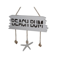 38cm Beach Bum White Wooden Hanging Sign with Rope, Shells & Starfish