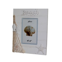24cm White Wooden Beach Photo Frame with Net, Fish, Shells and Starfish 4x6""