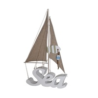 40cm Standing Sail Boat with White SEA Wording, Fish, Nautical Beach