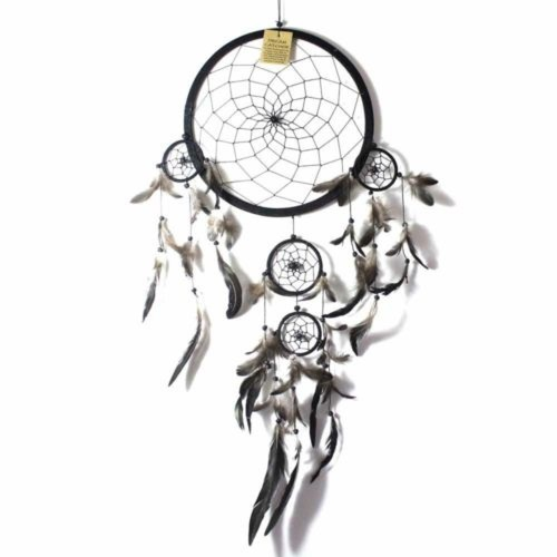 27cm Dream Catcher Black Web Design with Feathers and Beads