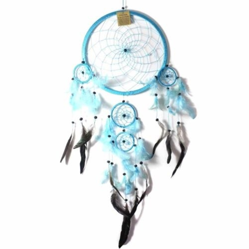 27cm Dream Catcher Turquoise Web Design with Feathers and Beads