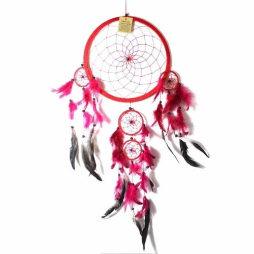 27cm Dream Catcher Red Web Design with Pink Feathers and Beads