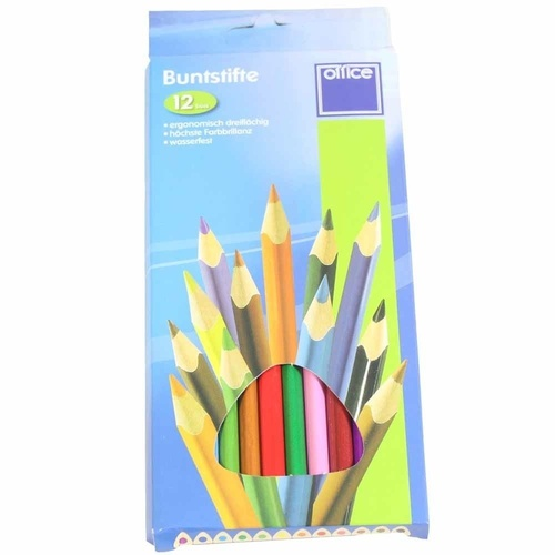 Set of 12 Brilliant Coloured Tri-Grip Coloured Pencils for drawing MQ-002