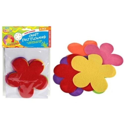 6pce Felt Flowers 14cm, 6 Colours Great for Art and Craft and Scrapbooking