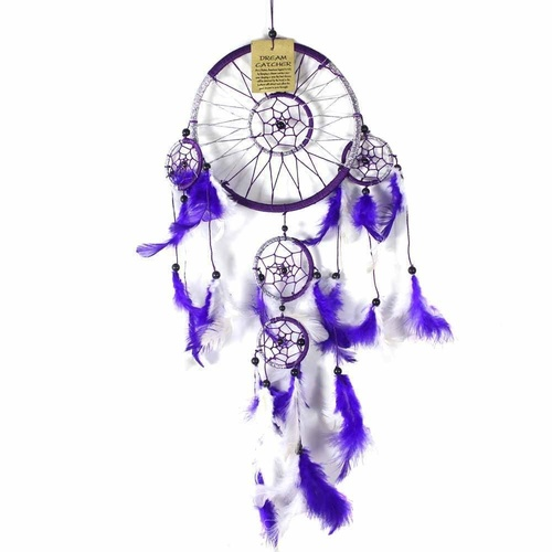 Purple 16cm Dream Catcher Metallic Web Design with Feathers and Beads