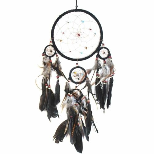 17cm Traditional Dream Catcher Black web leather with stones/beads feathers