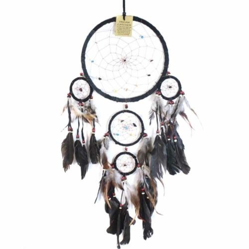 22cm Traditional Dream Catcher Black web leather with stones/beads feathers