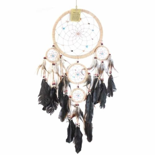22cm Traditional Dream Catcher Beige web leather with stones/beads feathers