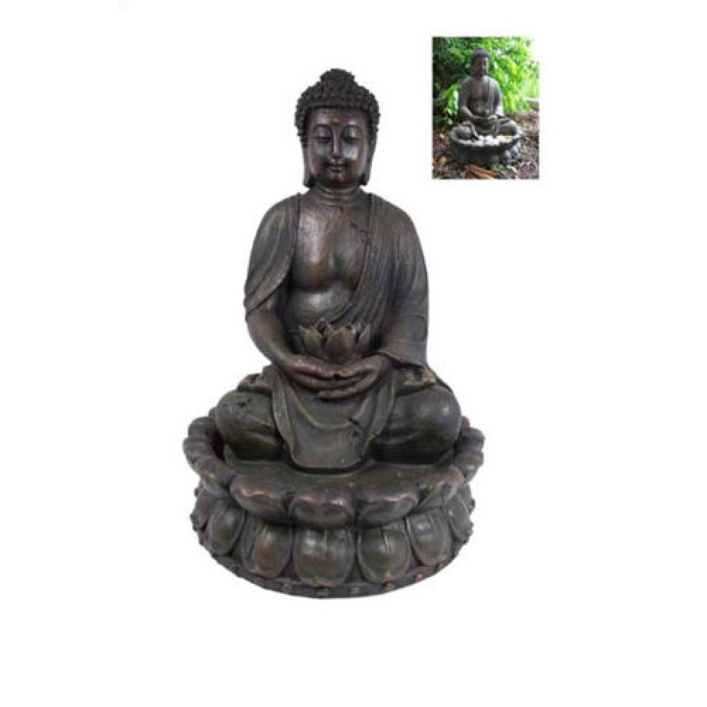 49cm Antique Style Praying Buddha Water Fountain With A Lotus Flower