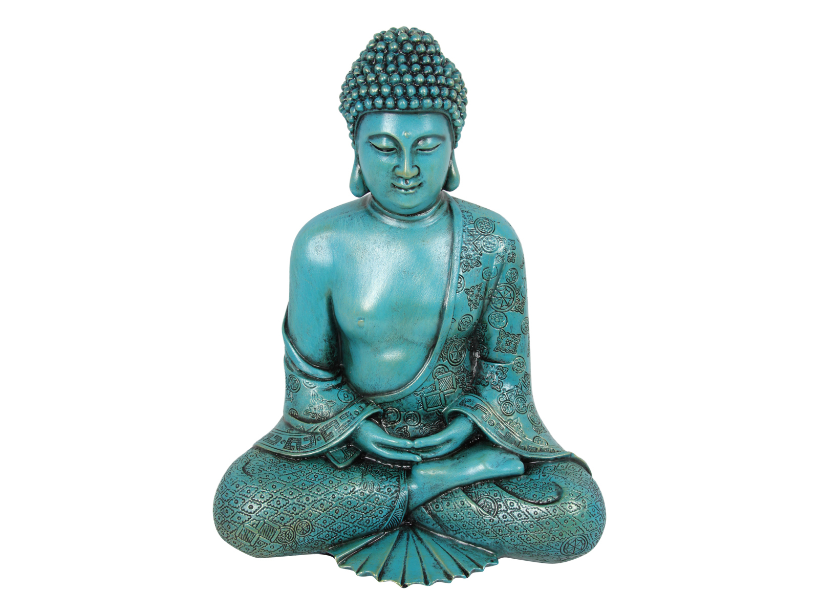 30cm teal antique style carved buddha statue figurine for Buddha figur