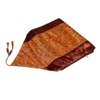 190x32cm Copper Table Runner / Bed End Throw Satin with Gold Glitter Vine Design