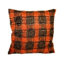 40cm Cushion Cover Decor Polyester Assorted Designs (No Insert) [Red Orange Shaggy Pattern]
