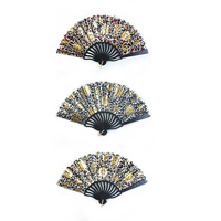 New 1pce Metallic Hand Fan Colour Selected at Random Floral