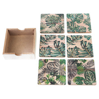 Set of 6 Grean Leaf Coaster Set 10x10cm Design 1