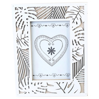 "1pce Photo Frame in White Leaf Laser Cut Design for 4x6"" Prints"