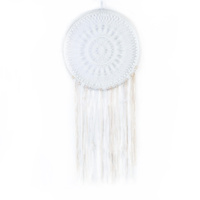 1pce 49cm Large Pure White Dream Catcher with Ornate Doily and White Feathers