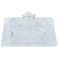 1pce 15.5x11cm Vintage Style Glass Butter Plate Holder with Ornate Design