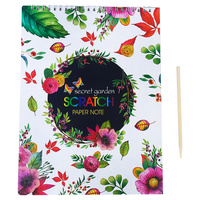 1pce Scratch Paper Book A4 with Ring Bound 10 Page with Secret Garden Theme